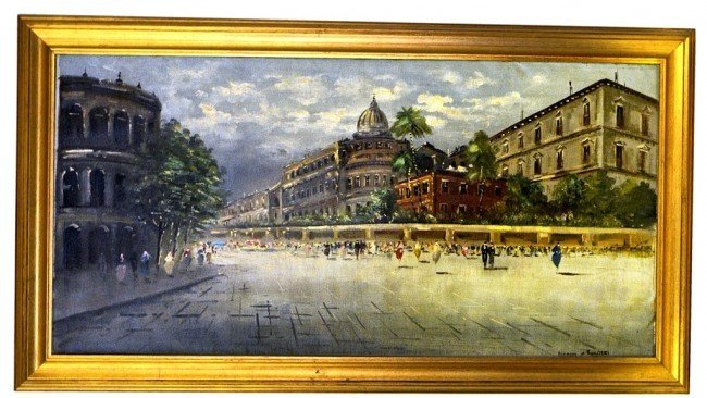 Gusseppe Ruggert Oil on Canvas Rome Plaza Scene