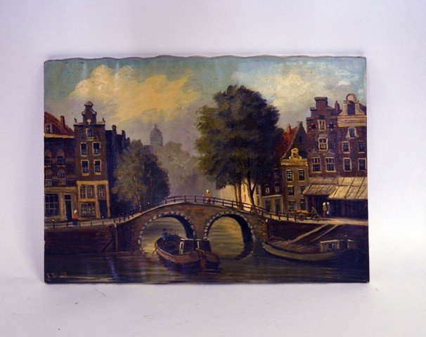 K. Muller Oil on Canvas Canal Scene