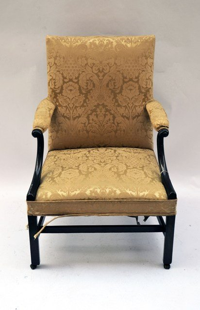 11: Mahogany Upholstered Open Arm Chair