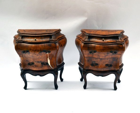 17: Pair of Bombe Marquetry Commodes