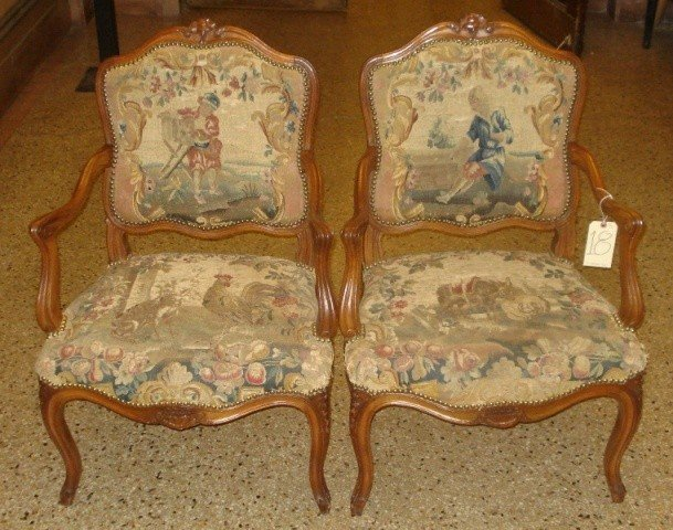 18: Pair of Needlepoint Upholstered Arm Chairs