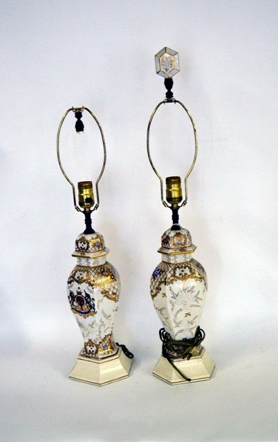 20: Pair of English Porcelain Lamps