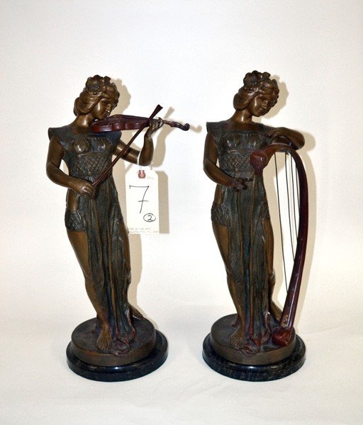 7: Set of Two Art Nouveau Style Female Sculptures