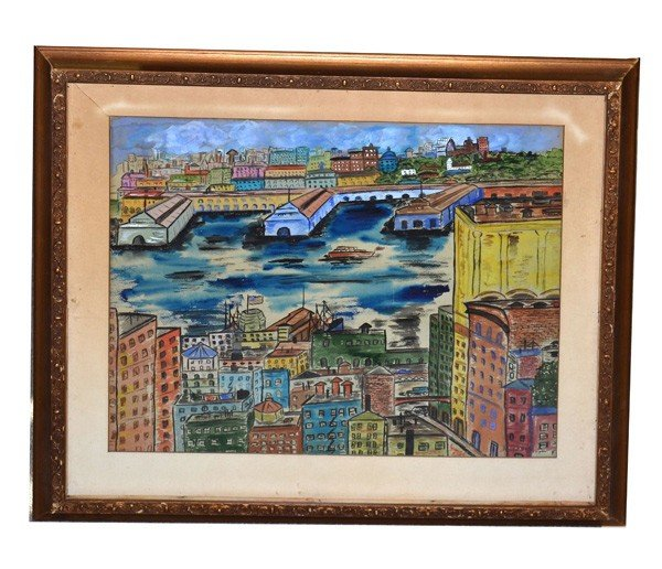 23: Raoul Dufy, Mixed Media NYC Port Scene
