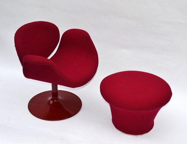 223: Pierre Paulin, Modern Red Arm Chair and Ottoman