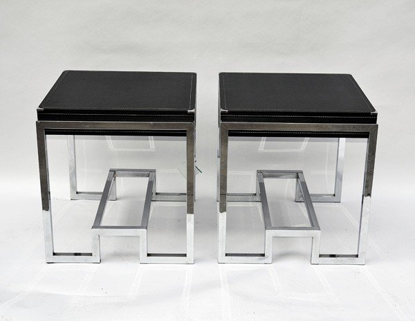 225: Pair of Modern Black Leather Top Side Tables