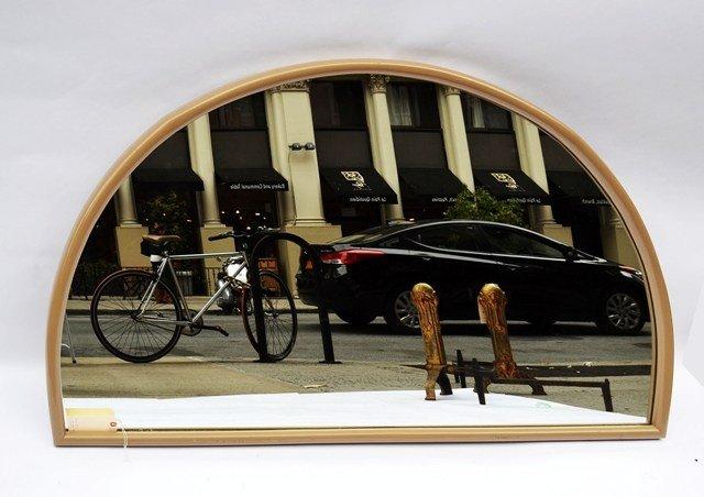231: Milo Baughman Creme Lacquer Demi-Lune Mirror
