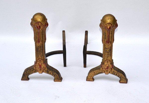 232: Pair Art Nouveau Andirons