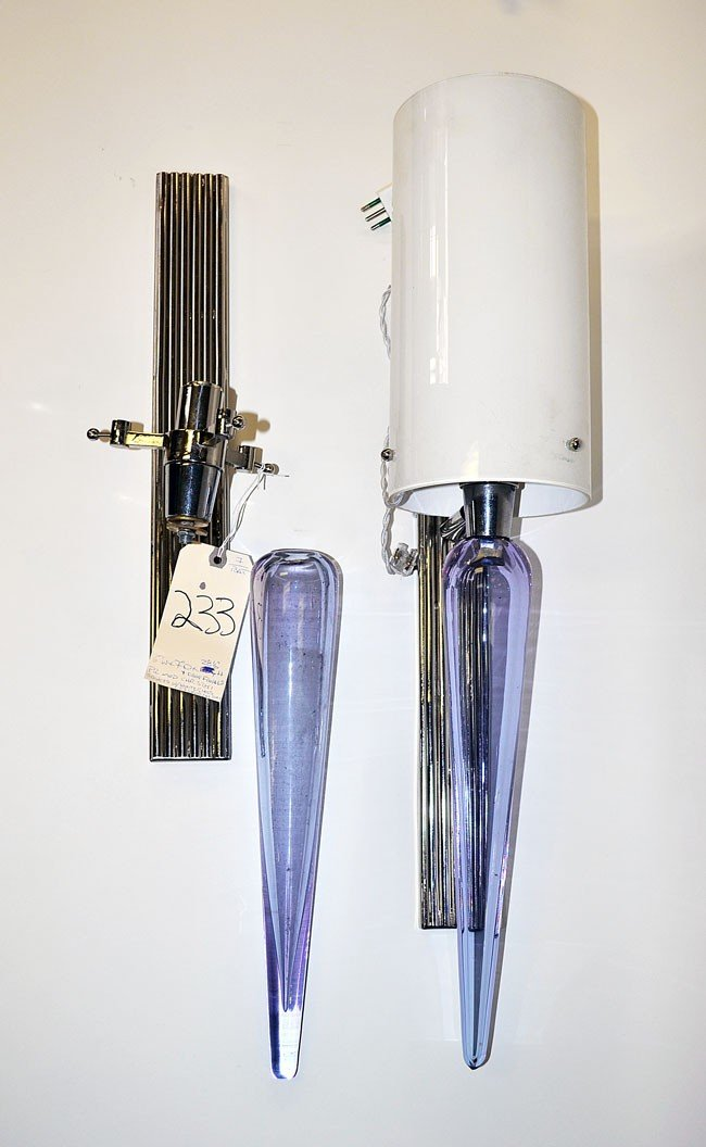 233: Pair of Modern Murano Chrome and Glass Sconces