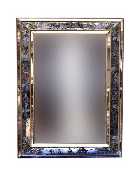 235: Mid Century Mirror with Verre Eglomise Surround