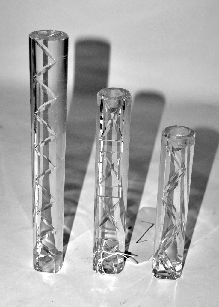 1: Suite of 3 Cut Crystal Candle Sticks