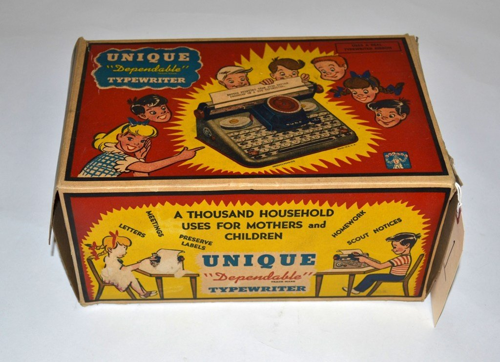 "11: Vintage ""Unique Dependable Typewriter"" toy"
