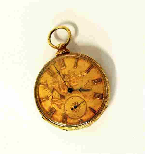 551: Jaquet Droz 18k Gold 13 Jewel Pocket Watch