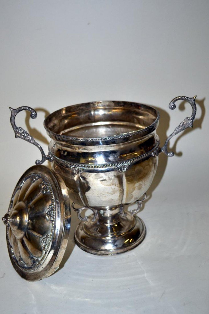 106: Vintage Anglo-Indian Silver Plate Covered Urn - 3