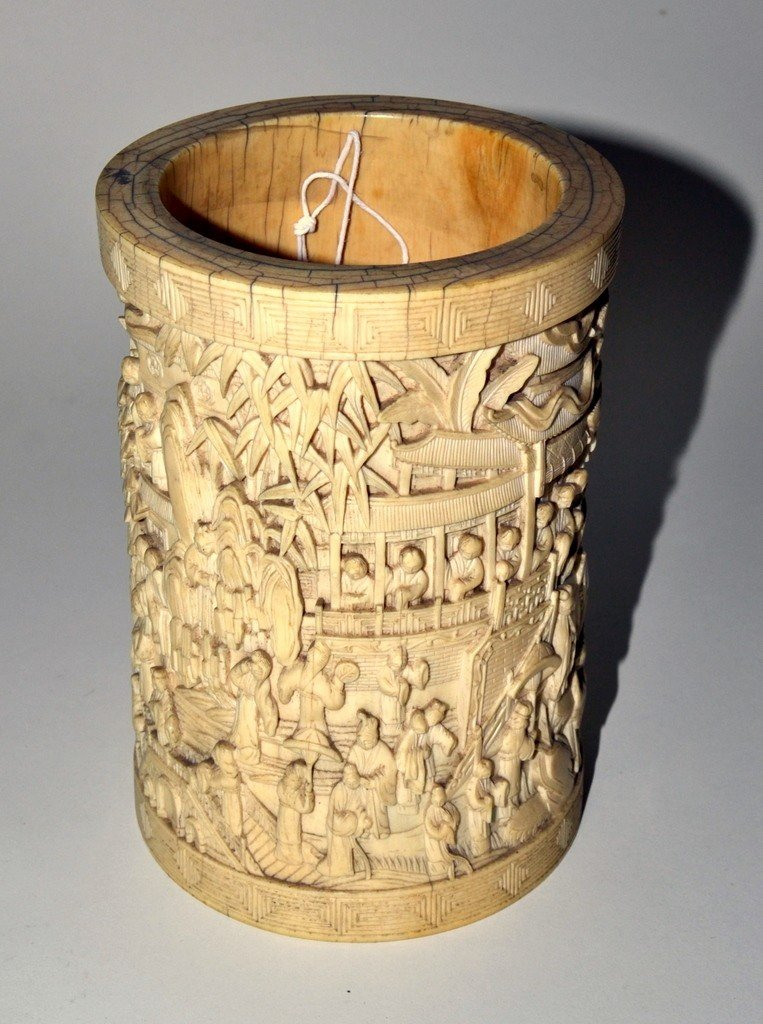 791: Ivory Relief Vessel - 4