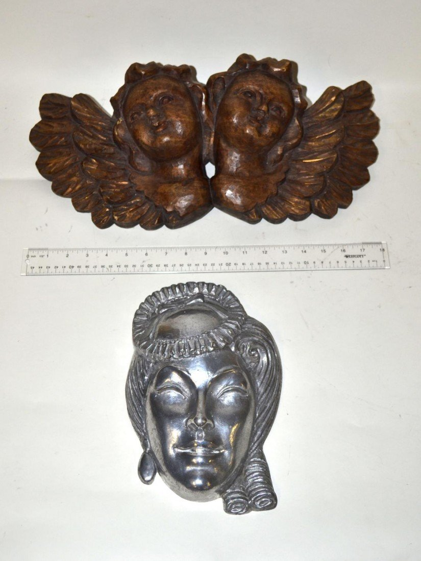 11: Carved Putti Bust with Cast Aluminum Mask