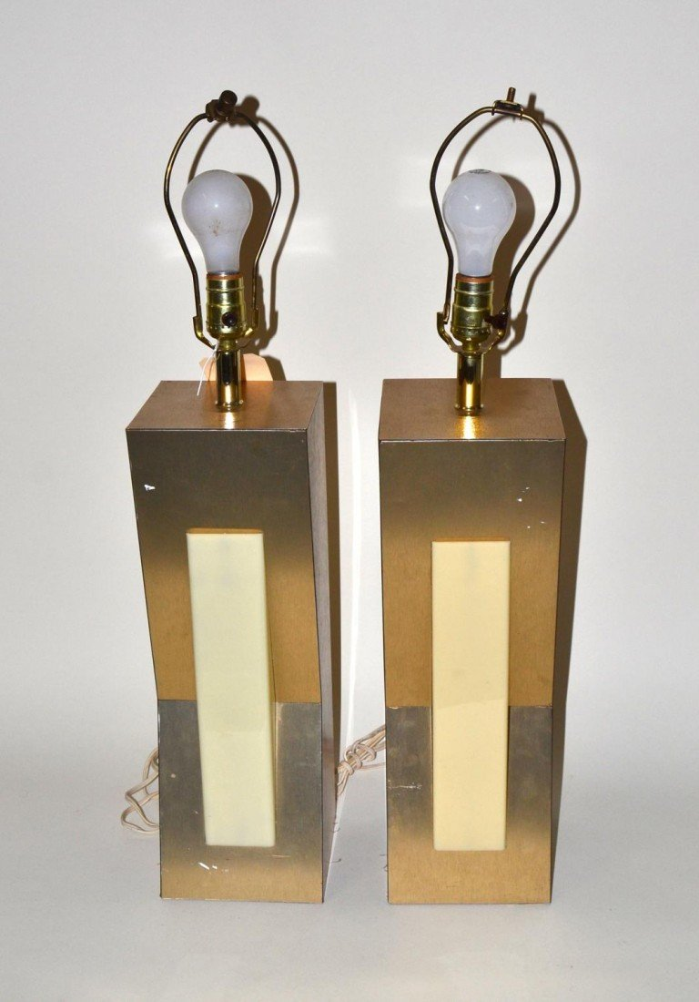 12: Pair of Modern Angular Geometric Table Lamps