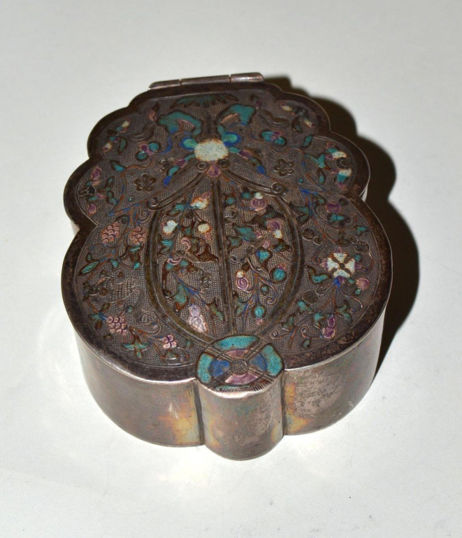 472: Chinese Enameled Silver Poppy-Form Box