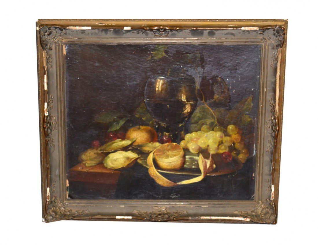 15: Russian Oil on Canvas Board, Still Life
