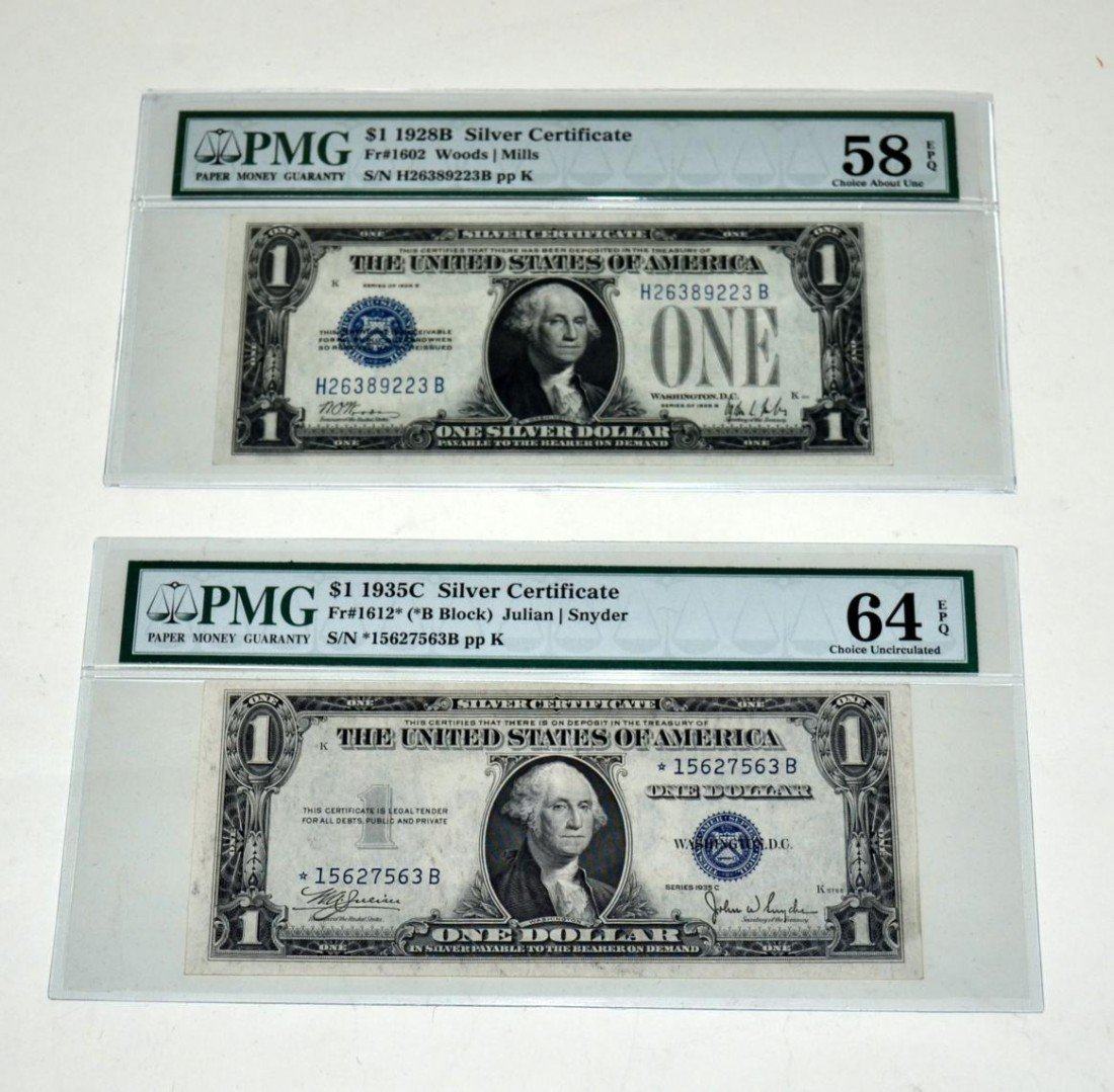 18: Two Choice Uncirculated $1 Silver Certificates