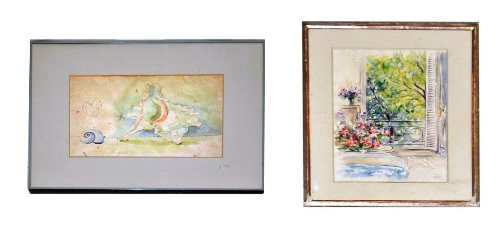 20: Two Watercolors, Conch Shell & Interior with Window