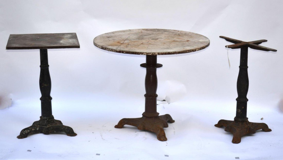 57: Set Of Three Antique Cast Iron Cafe Table Bases