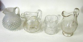 8: Four Glass Pitchers Pierpoint, Cut, & Pressed