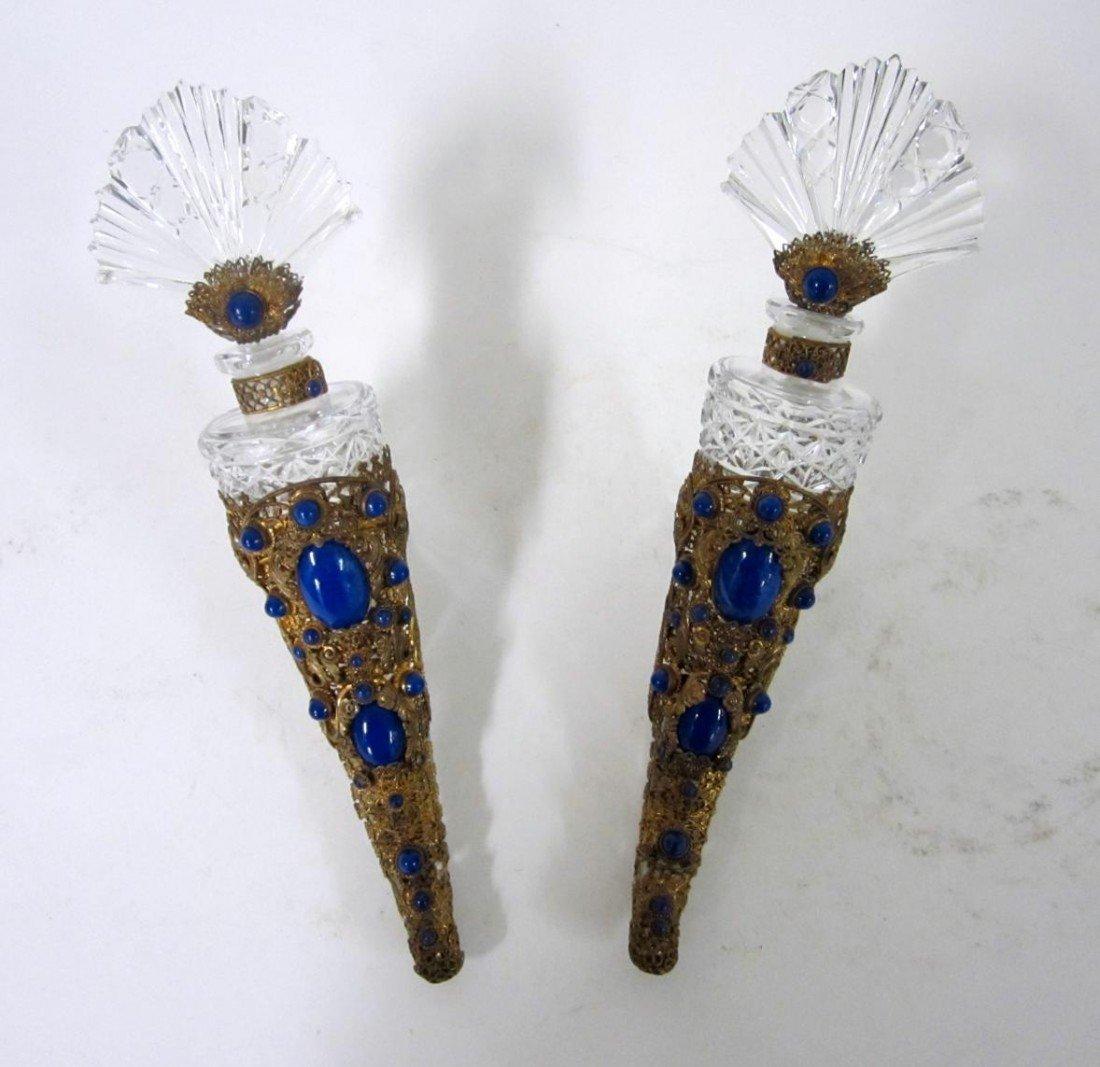 14: Pair of Filigree Encrusted Crystal Perfume Horns