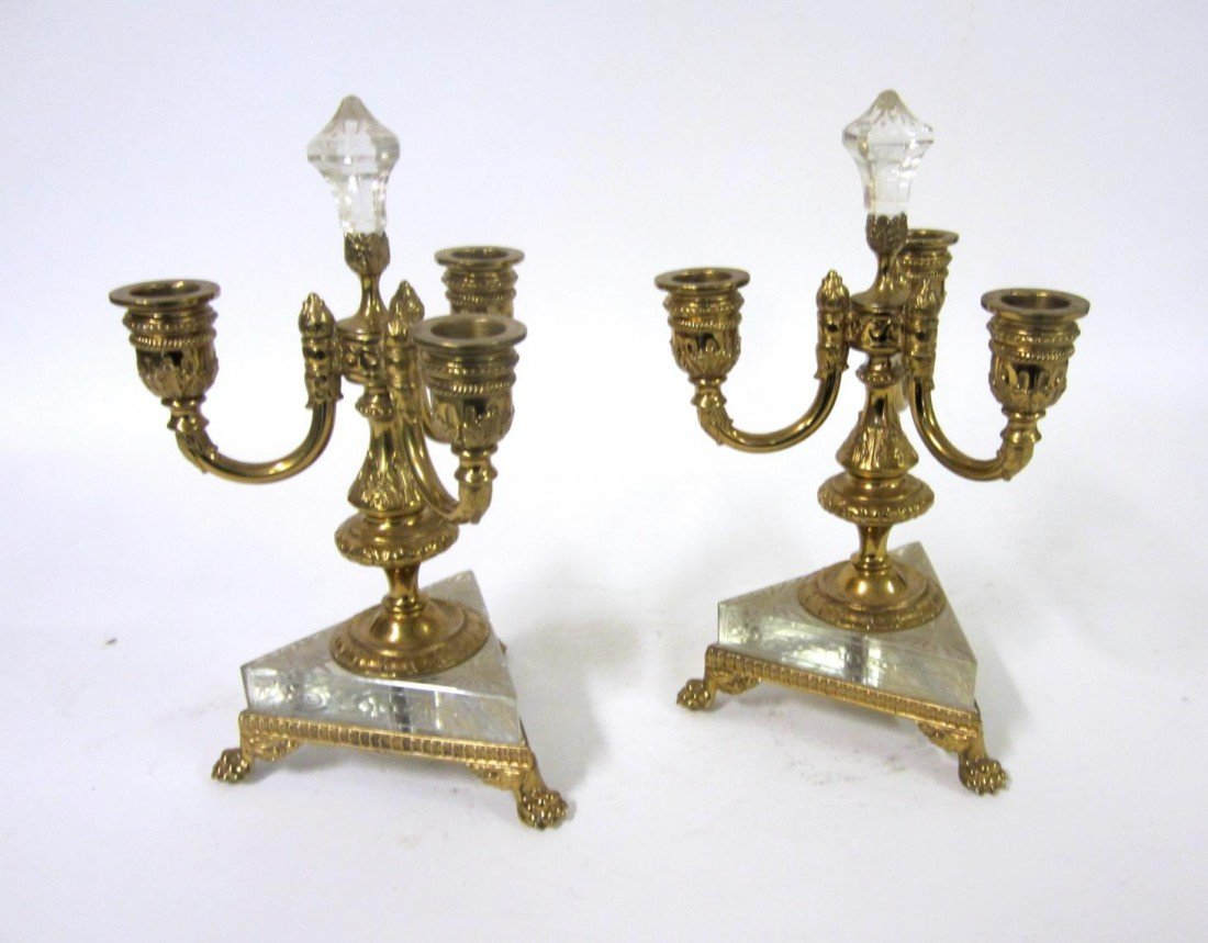 18: Pair of Pairpoint Cut Crystal & Glass Candelabra