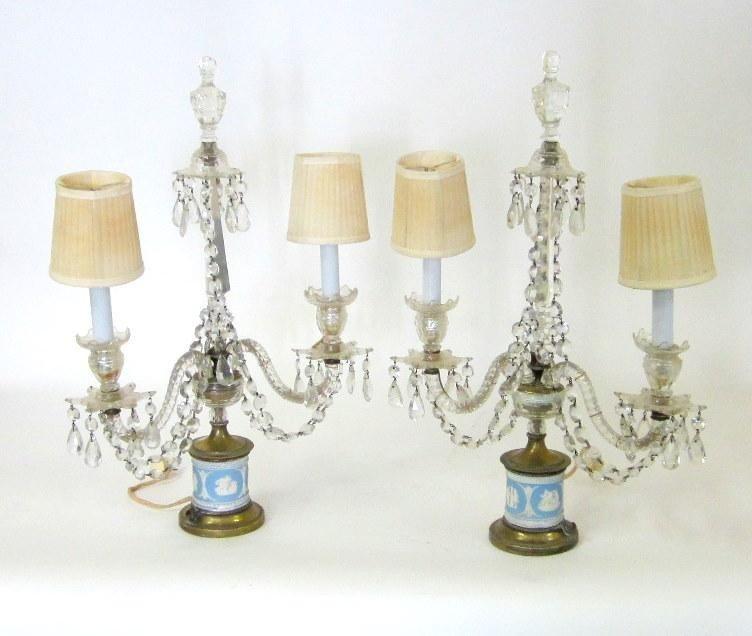 22: Pair of Cut Crystal Girandole Table Lamps