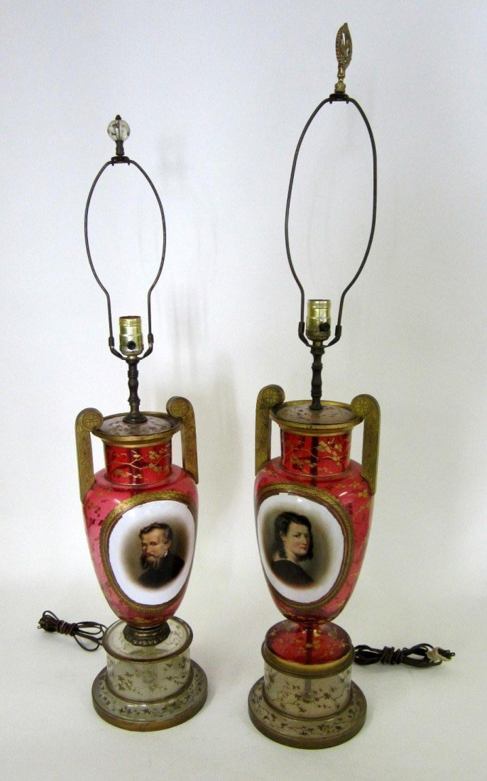 23: Pair of Antique Bohemian Glass Table Lamps