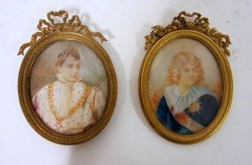 24: Two Antique French Miniature Portraits