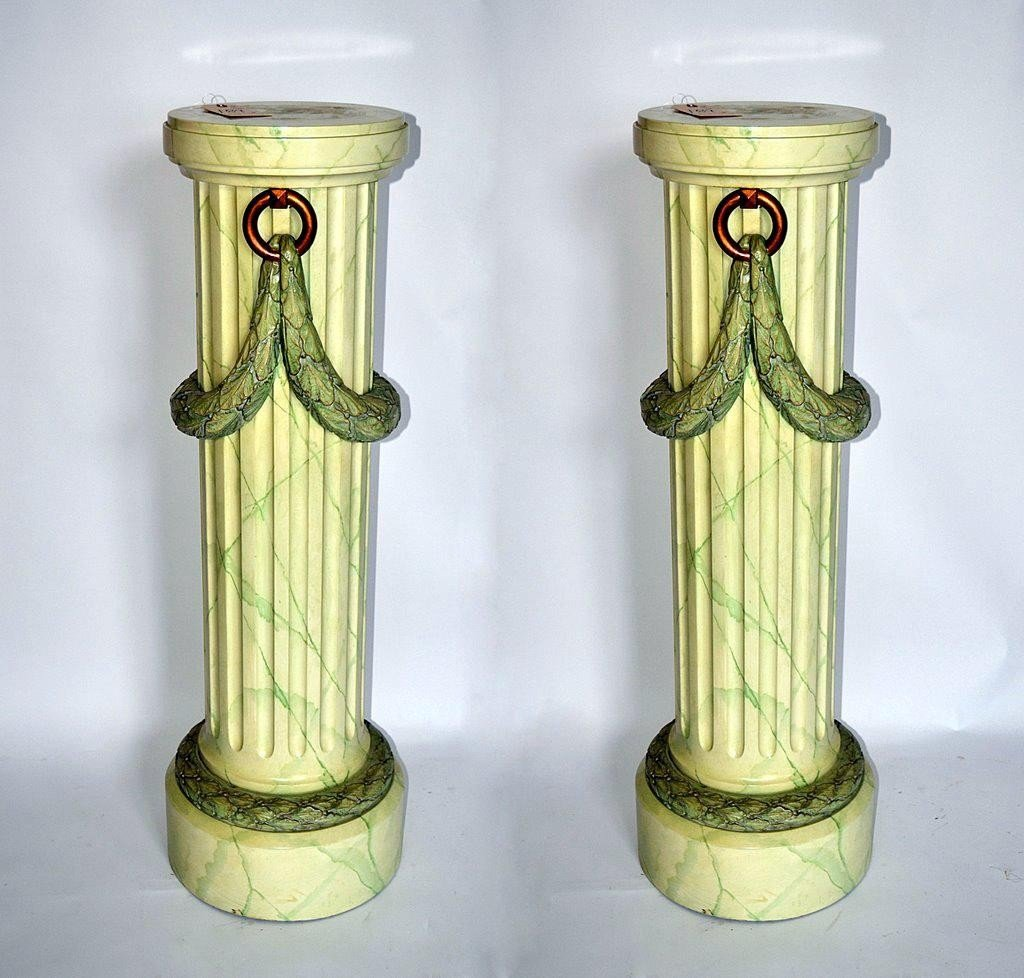 109: Pair of Decorated Pedestals