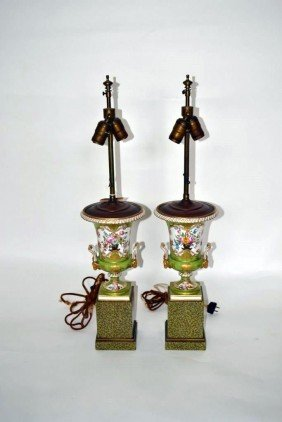 Pair Of Old Paris Style Lamps