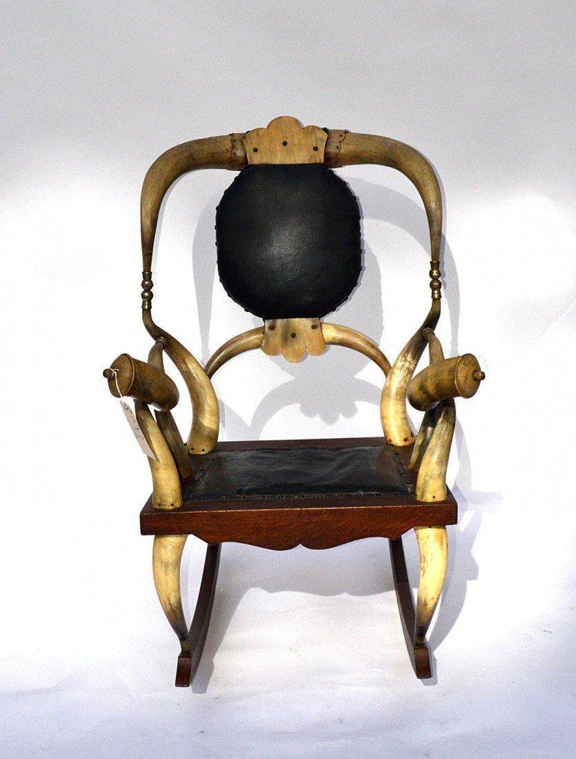 128: Rustic Bullhorn Rocking Chair