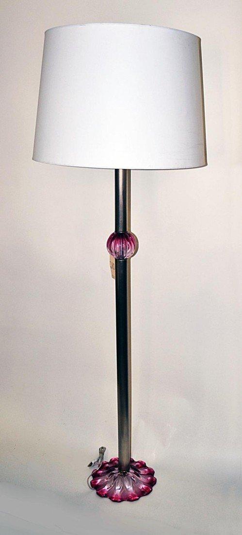130: Modern Aluminum & Glass Floor Lamp