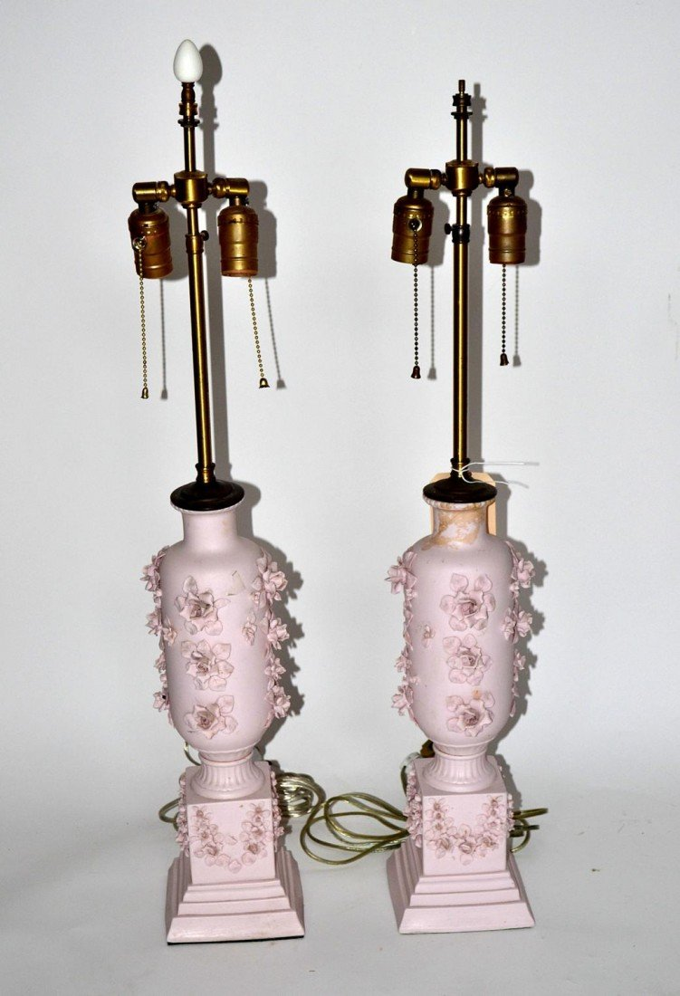 138: Pair of Pink Floral Lamps