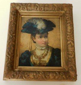 Oil On Board, Portrait Of A Woman