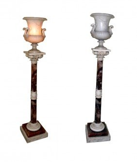 Pair Of Alabaster & Marble Urn Lamps
