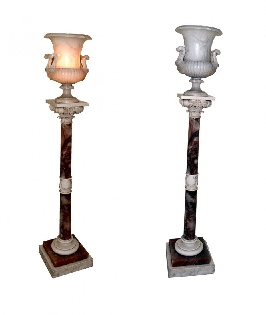 197: Pair of Alabaster & Marble Urn Lamps