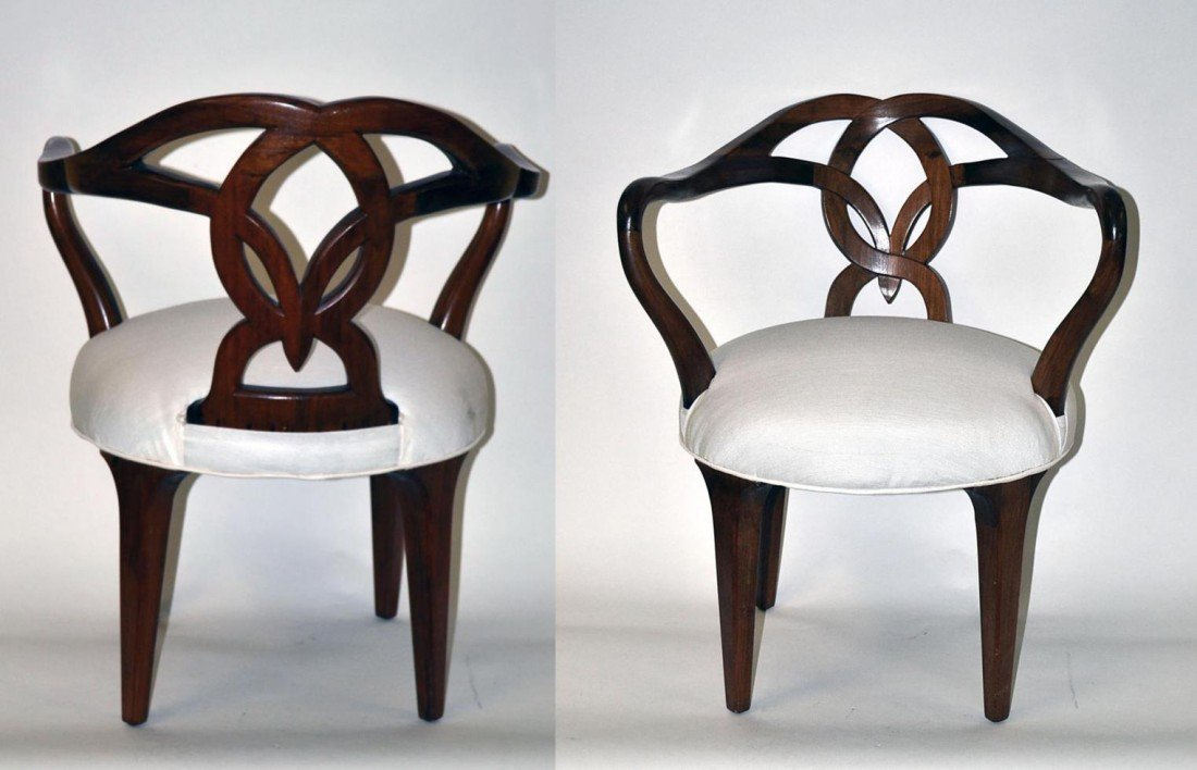 208: Pair of Walnut Arm Chairs
