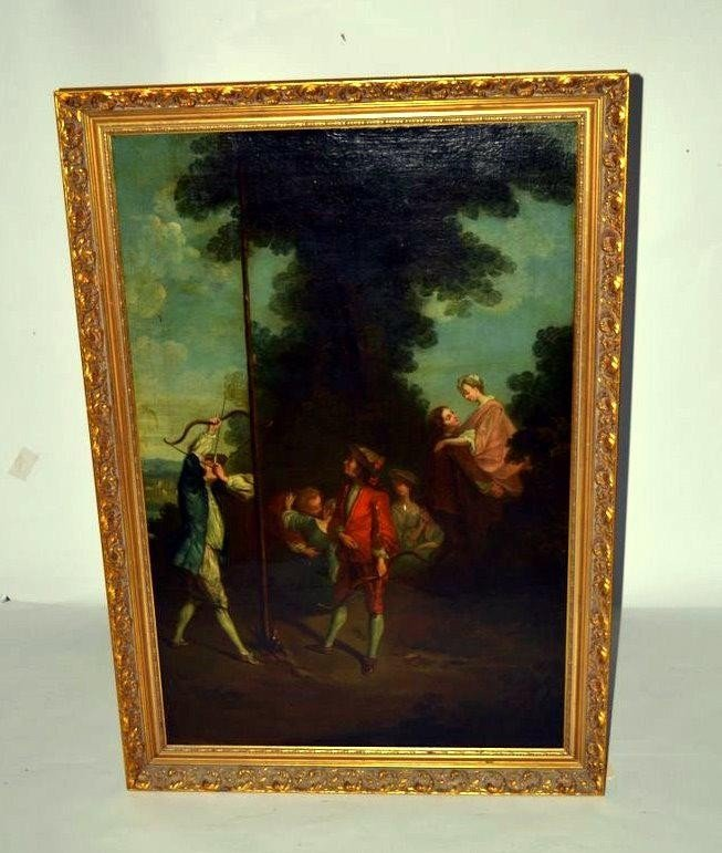 234: 18th-19th C. Antique Oil on Canvas Courting Scene