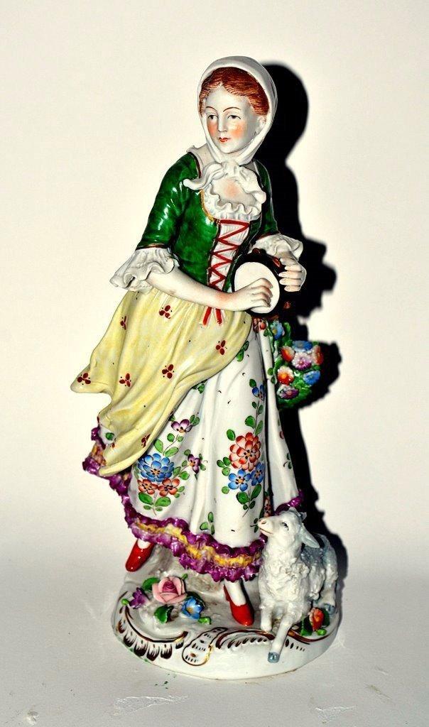 251: German Porcelain Woman & Sheep