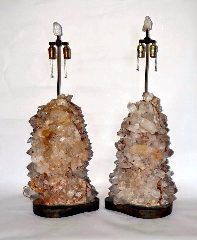 255: Pair of Rock Crystal Lamps
