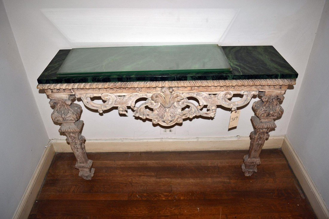 259: Carved Faux Marble Console