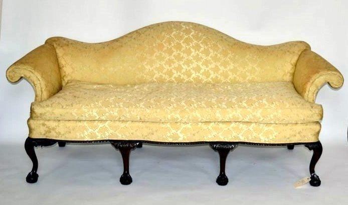 265: Mahogany Camel Back Sofa