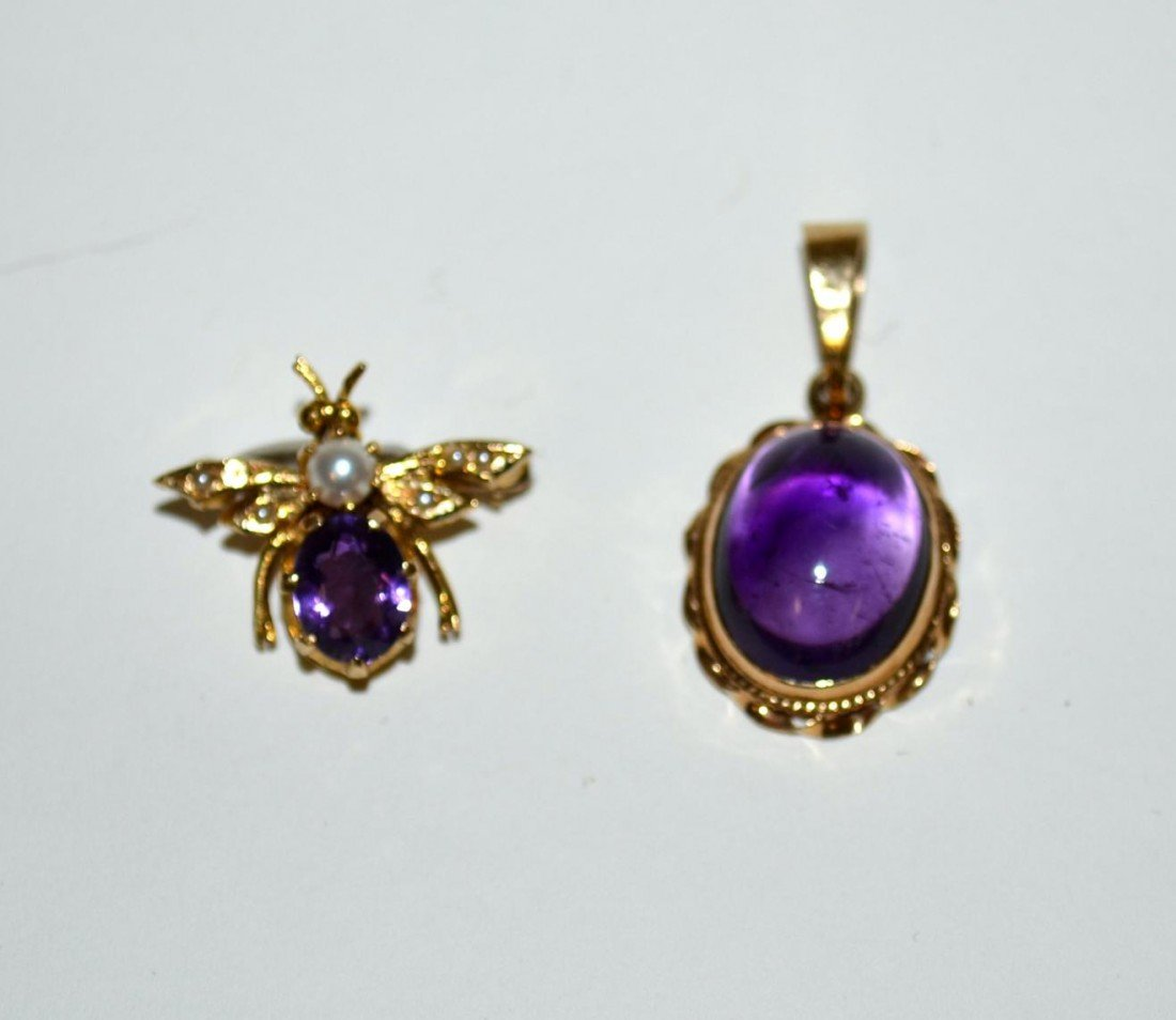 537: Two 14k Gold & Amethyst Articles