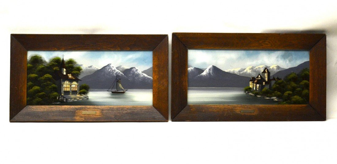4: Pair of Reverse Paintings on Glass