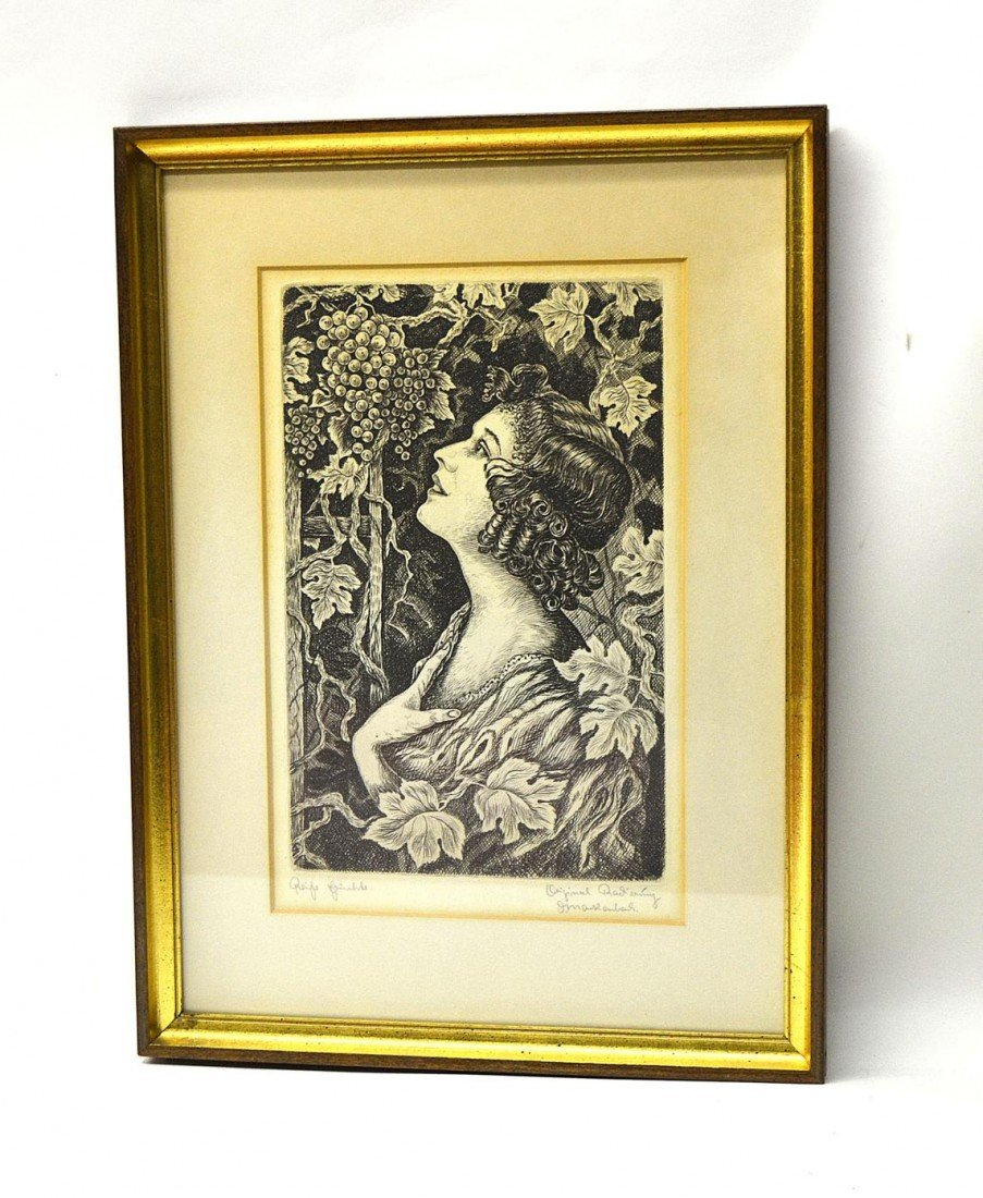 14: Etching of a Woman