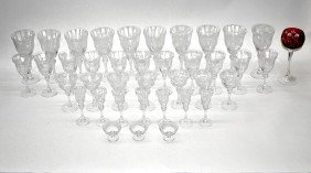 Etched Glass Stemware Service 35pc.
